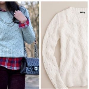 J.Crew size Medium Honeycomb Cable Knit Sweater